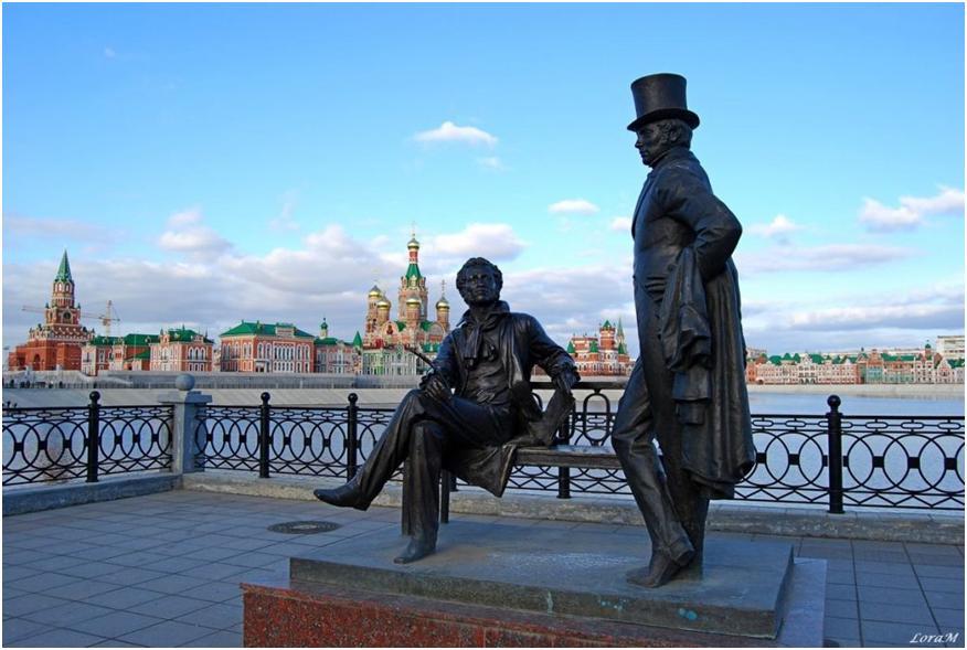 Памятник Пушкину и Онегину
